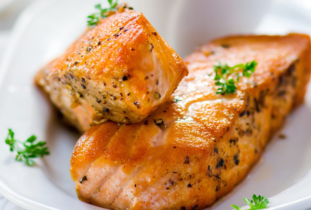 Grilled Salmon With Beurre Blanc Butter And Wine Sauce With