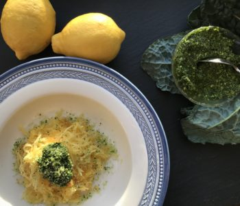 Roasted Spaghetti Squash with Kale Pesto
