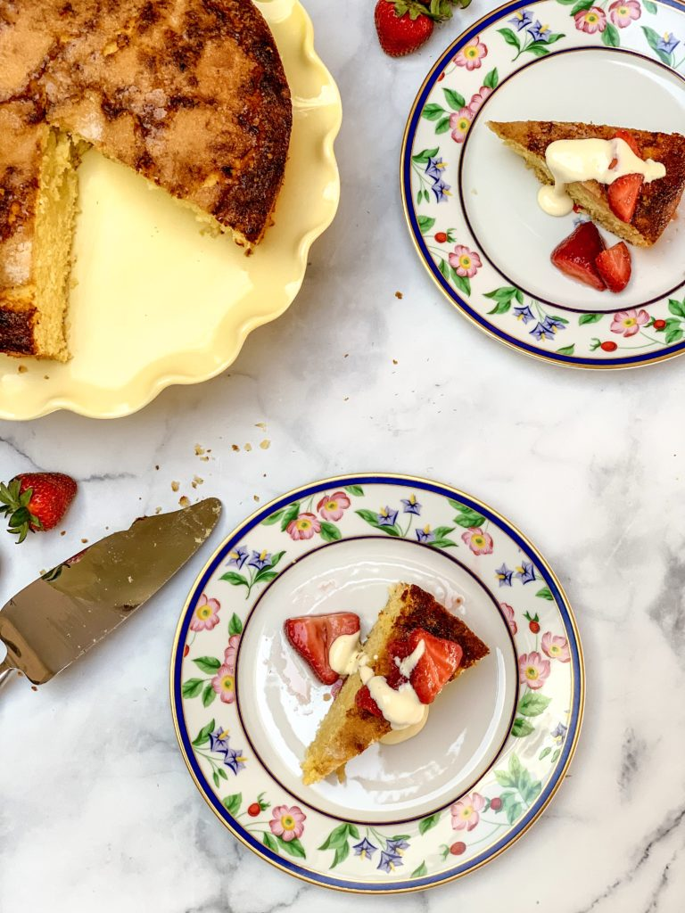 citrus olive oil cake with sweetened strawberries and whipped ricotta
